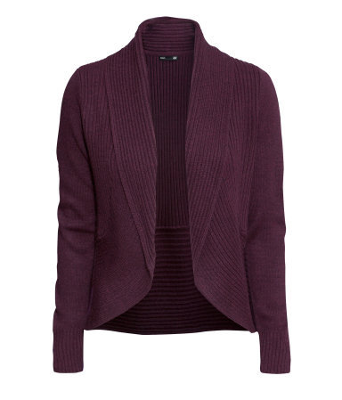 Cardigan With A Shawl Collar - pattern: plain; neckline: shawl; style: open front; predominant colour: aubergine; occasions: casual, creative work; length: standard; fibres: acrylic - 100%; fit: standard fit; sleeve length: long sleeve; sleeve style: standard; texture group: knits/crochet; pattern type: knitted - other; trends: broody brights; season: a/w 2013