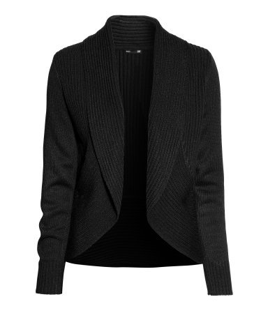 Cardigan With A Shawl Collar - pattern: plain; neckline: shawl; style: open front; predominant colour: black; occasions: casual, creative work; length: standard; fibres: acrylic - 100%; fit: standard fit; sleeve length: long sleeve; sleeve style: standard; texture group: knits/crochet; pattern type: knitted - other; season: a/w 2013