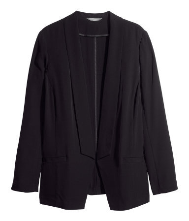 + Jacket - pattern: plain; style: single breasted blazer; collar: shawl/waterfall; length: below the bottom; predominant colour: black; occasions: casual, evening, work, creative work; fit: tailored/fitted; fibres: polyester/polyamide - stretch; sleeve length: long sleeve; sleeve style: standard; collar break: low/open; texture group: woven light midweight; season: a/w 2013