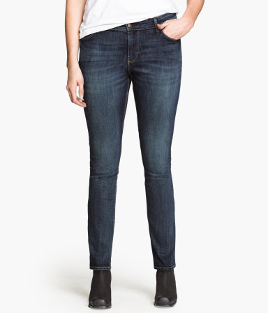 + Jeans - length: standard; pattern: plain; pocket detail: traditional 5 pocket; style: slim leg; waist: mid/regular rise; predominant colour: navy; occasions: casual; fibres: cotton - stretch; jeans detail: whiskering, shading down centre of thigh, washed/faded; texture group: denim; pattern type: fabric; season: a/w 2013