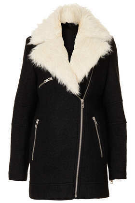 Fur Collar Textured Biker Jacket - pattern: plain; collar: standard biker; length: mid thigh; secondary colour: ivory/cream; predominant colour: black; occasions: casual, creative work; fit: tailored/fitted; fibres: wool - mix; sleeve length: long sleeve; sleeve style: standard; collar break: high/illusion of break when open; pattern type: fabric; texture group: woven bulky/heavy; embellishment: fur; style: biker; season: a/w 2013; wardrobe: highlight; embellishment location: neck