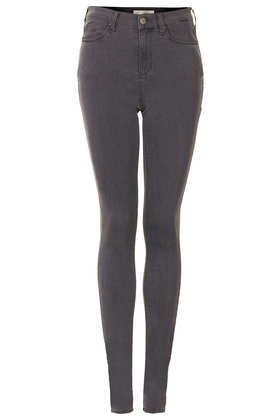 Tall Moto Grey Leigh Jeans - style: skinny leg; length: standard; pattern: plain; waist: high rise; pocket detail: traditional 5 pocket; predominant colour: charcoal; occasions: casual, evening, creative work; fibres: cotton - stretch; jeans detail: washed/faded; texture group: denim; pattern type: fabric; season: a/w 2013