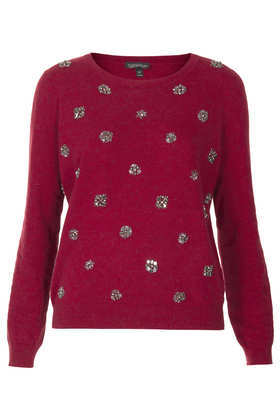 Knitted Embellished Jumper - neckline: round neck; pattern: plain; style: standard; predominant colour: burgundy; occasions: casual, creative work; length: standard; fibres: cotton - mix; fit: standard fit; sleeve length: long sleeve; sleeve style: standard; texture group: knits/crochet; embellishment: beading; trends: broody brights; season: a/w 2013