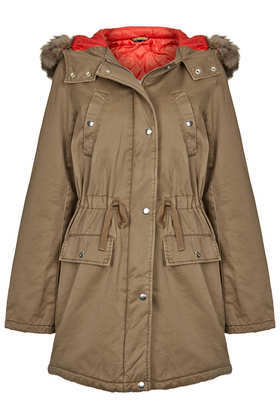 Red Lined Fur Trimmed Parka - pattern: plain; fit: loose; style: parka; back detail: hood; collar: high neck; length: mid thigh; predominant colour: taupe; occasions: casual, creative work; fibres: cotton - 100%; waist detail: belted waist/tie at waist/drawstring; sleeve length: long sleeve; sleeve style: standard; texture group: cotton feel fabrics; collar break: high; pattern type: fabric; embellishment: fur; season: a/w 2013; wardrobe: highlight; embellishment location: neck