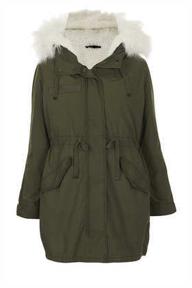 Petite Khaki Parka Coat - pattern: plain; fit: loose; style: parka; back detail: hood; collar: high neck; length: mid thigh; predominant colour: khaki; occasions: casual, creative work; fibres: cotton - 100%; waist detail: belted waist/tie at waist/drawstring; sleeve length: long sleeve; sleeve style: standard; collar break: high; texture group: other - bulky/heavy; season: a/w 2013; hip detail: front pockets at hip