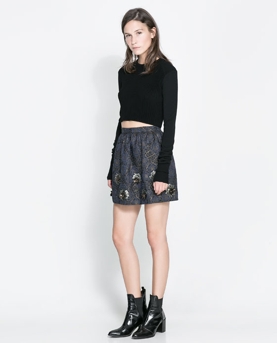 Short Jacquard Skirt - length: mid thigh; fit: loose/voluminous; waist: mid/regular rise; predominant colour: navy; occasions: casual, evening, occasion, creative work; style: mini skirt; fibres: polyester/polyamide - stretch; pattern type: fabric; pattern: florals; texture group: brocade/jacquard; embellishment: sequins; season: a/w 2013; wardrobe: highlight; embellishment location: all over