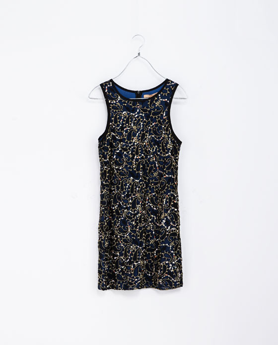Fantasy Sleeveless Dress - style: shift; neckline: round neck; sleeve style: sleeveless; predominant colour: navy; secondary colour: khaki; occasions: evening, occasion; length: just above the knee; fit: straight cut; fibres: nylon - 100%; sleeve length: sleeveless; pattern type: fabric; pattern: patterned/print; texture group: other - light to midweight; embellishment: sequins; trends: excess embellishment; season: a/w 2013