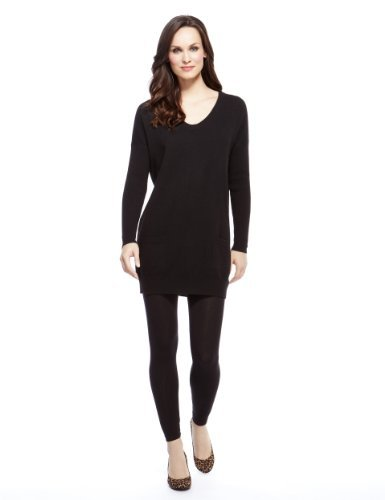 M&S Collection Pure Cashmere Front Pockets Knitted Tunic - neckline: low v-neck; pattern: plain; style: tunic; predominant colour: black; occasions: casual; fit: loose; length: mid thigh; fibres: cashmere - 100%; sleeve length: long sleeve; sleeve style: standard; texture group: knits/crochet; pattern type: knitted - fine stitch; season: a/w 2013