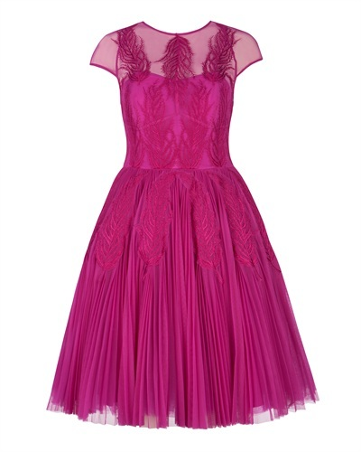 Ted Baker Miyaa Feather Applique Motif Dress - neckline: round neck; sleeve style: capped; predominant colour: magenta; occasions: evening, occasion; length: on the knee; fit: fitted at waist & bust; style: fit & flare; fibres: polyester/polyamide - 100%; hip detail: soft pleats at hip/draping at hip/flared at hip; sleeve length: short sleeve; texture group: sheer fabrics/chiffon/organza etc.; pattern: patterned/print; embellishment: applique; trends: broody brights; season: a/w 2013