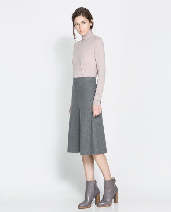 High Waist Skirt - length: below the knee; pattern: plain; fit: loose/voluminous; waist: high rise; predominant colour: mid grey; occasions: casual, evening, work, creative work; style: fit & flare; fibres: polyester/polyamide - stretch; pattern type: fabric; texture group: other - light to midweight; trends: 1940's hitchcock heroines; season: a/w 2013