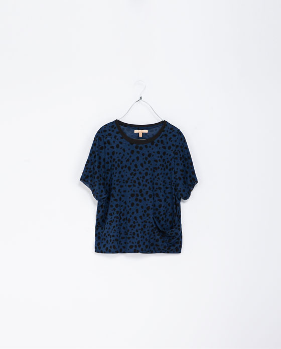 Printed Pattern T Shirt - neckline: round neck; style: t-shirt; predominant colour: royal blue; secondary colour: black; occasions: casual, creative work; length: standard; fit: loose; sleeve length: short sleeve; sleeve style: standard; pattern type: fabric; pattern: animal print; texture group: jersey - stretchy/drapey; fibres: viscose/rayon - mix; trends: gorgeous grunge; season: a/w 2013; pattern size: big & busy (top)
