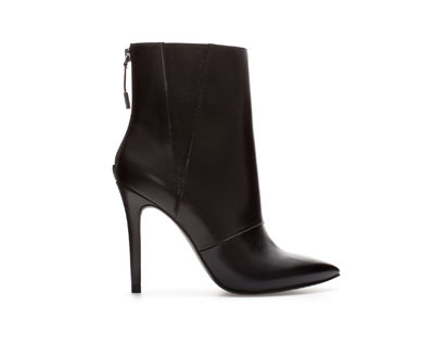 Stiletto Heel Ankle Boot - predominant colour: black; material: faux leather; heel height: high; heel: stiletto; toe: pointed toe; boot length: ankle boot; style: standard; finish: plain; pattern: plain; occasions: creative work; season: a/w 2013