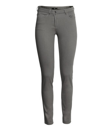 Super Stretch Trousers - pattern: plain; pocket detail: traditional 5 pocket; waist: mid/regular rise; predominant colour: mid grey; occasions: casual, evening, creative work; length: ankle length; fibres: cotton - stretch; texture group: cotton feel fabrics; fit: skinny/tight leg; pattern type: fabric; style: standard; season: a/w 2013