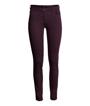 Super Stretch Trousers - length: standard; pattern: plain; waist: low rise; pocket detail: traditional 5 pocket; predominant colour: burgundy; occasions: casual, evening, creative work; fibres: cotton - stretch; fit: skinny/tight leg; pattern type: fabric; texture group: other - light to midweight; style: standard; trends: broody brights; season: a/w 2013