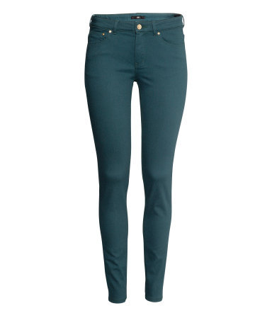 Super Stretch Trousers - pattern: plain; pocket detail: traditional 5 pocket; waist: mid/regular rise; predominant colour: teal; occasions: casual, evening, creative work; length: ankle length; fibres: cotton - stretch; texture group: cotton feel fabrics; fit: skinny/tight leg; pattern type: fabric; style: standard; season: a/w 2013