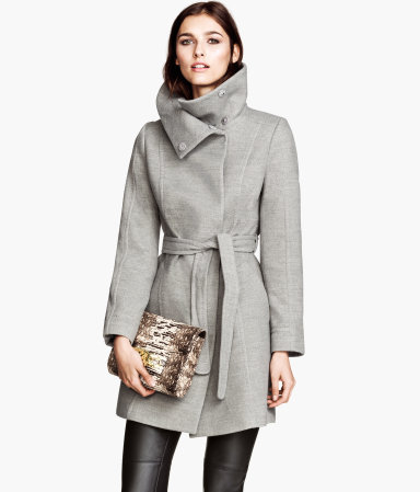Short Coat - pattern: plain; collar: funnel; style: wrap around; length: mid thigh; predominant colour: light grey; occasions: casual, evening, work, creative work; fit: tailored/fitted; fibres: polyester/polyamide - stretch; waist detail: belted waist/tie at waist/drawstring; sleeve length: long sleeve; sleeve style: standard; collar break: high; pattern type: fabric; texture group: woven bulky/heavy; season: a/w 2013