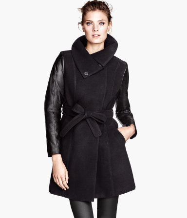 Short Coat - pattern: plain; collar: funnel; style: wrap around; length: mid thigh; predominant colour: black; occasions: casual, evening, work, creative work; fit: tailored/fitted; fibres: polyester/polyamide - stretch; waist detail: belted waist/tie at waist/drawstring; sleeve length: long sleeve; sleeve style: standard; collar break: high; pattern type: fabric; texture group: woven bulky/heavy; season: a/w 2013
