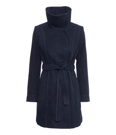 Short Coat - pattern: plain; collar: funnel; style: wrap around; length: mid thigh; predominant colour: navy; occasions: casual, work, creative work; fit: tailored/fitted; fibres: polyester/polyamide - stretch; waist detail: belted waist/tie at waist/drawstring; sleeve length: long sleeve; sleeve style: standard; collar break: high; pattern type: fabric; texture group: woven bulky/heavy; season: a/w 2013