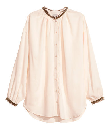 Blouse With Beaded Embroidery - pattern: plain; style: blouse; predominant colour: nude; occasions: casual, creative work; length: standard; neckline: collarstand & mandarin with v-neck; fibres: viscose/rayon - 100%; fit: loose; sleeve length: long sleeve; sleeve style: standard; texture group: silky - light; pattern type: fabric; embellishment: beading; season: a/w 2013