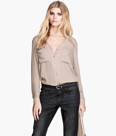 Chiffon Blouse - neckline: low v-neck; pattern: plain; style: blouse; predominant colour: taupe; occasions: casual, evening, work, creative work; length: standard; fibres: polyester/polyamide - 100%; fit: loose; sleeve length: long sleeve; sleeve style: standard; texture group: sheer fabrics/chiffon/organza etc.; pattern type: fabric; season: a/w 2013