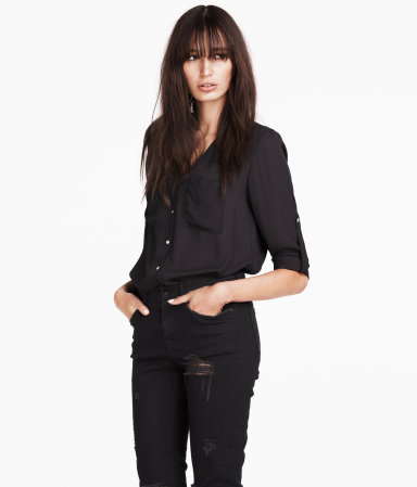 Chiffon Blouse - neckline: low v-neck; pattern: plain; style: blouse; predominant colour: black; occasions: casual, evening, work, creative work; length: standard; fibres: polyester/polyamide - 100%; fit: loose; sleeve length: half sleeve; sleeve style: standard; texture group: sheer fabrics/chiffon/organza etc.; pattern type: fabric; season: a/w 2013