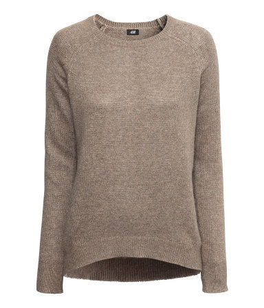 Knitted Jumper - sleeve style: raglan; pattern: plain; style: standard; predominant colour: taupe; occasions: casual, creative work; length: standard; fibres: polyester/polyamide - stretch; fit: standard fit; neckline: crew; sleeve length: long sleeve; texture group: knits/crochet; season: a/w 2013