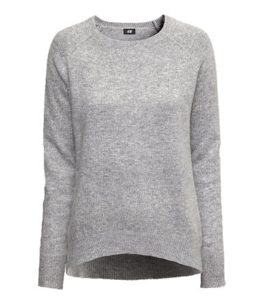 Knitted Jumper - sleeve style: raglan; pattern: plain; length: below the bottom; style: standard; predominant colour: light grey; occasions: casual; fibres: polyester/polyamide - mix; fit: loose; neckline: crew; back detail: longer hem at back than at front; sleeve length: long sleeve; texture group: knits/crochet; pattern type: knitted - fine stitch; season: a/w 2013