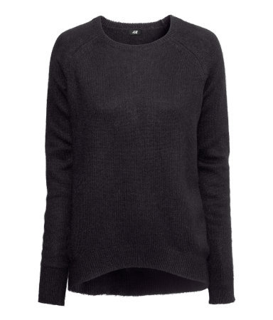 Knitted Jumper - neckline: round neck; sleeve style: raglan; pattern: plain; style: standard; predominant colour: black; occasions: casual; length: standard; fibres: polyester/polyamide - mix; fit: standard fit; back detail: longer hem at back than at front; sleeve length: long sleeve; texture group: knits/crochet; pattern type: knitted - fine stitch; season: a/w 2013