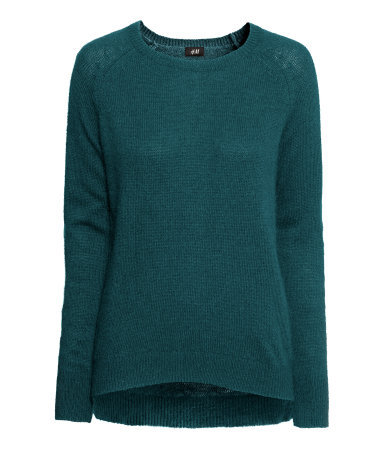 Knitted Jumper - sleeve style: raglan; pattern: plain; style: standard; predominant colour: teal; occasions: casual; length: standard; fibres: polyester/polyamide - mix; fit: standard fit; neckline: crew; sleeve length: long sleeve; texture group: knits/crochet; pattern type: knitted - fine stitch; trends: broody brights; season: a/w 2013
