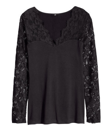 Top With Lace - neckline: low v-neck; pattern: plain; predominant colour: black; occasions: evening, work, occasion; length: standard; style: top; fibres: cotton - stretch; fit: body skimming; sleeve length: long sleeve; sleeve style: standard; texture group: jersey - clingy; pattern type: fabric; embellishment: lace; trends: gothic romance; season: a/w 2013
