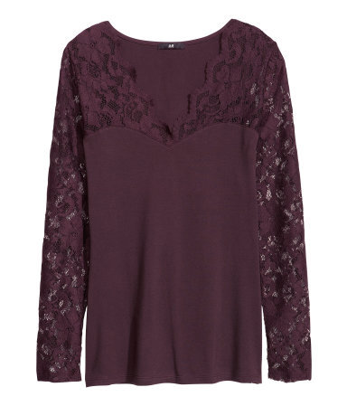 Top With Lace - neckline: low v-neck; pattern: plain; predominant colour: aubergine; occasions: casual, evening, work, occasion; length: standard; style: top; fibres: cotton - stretch; fit: body skimming; sleeve length: long sleeve; sleeve style: standard; texture group: jersey - clingy; pattern type: fabric; embellishment: lace; trends: gothic romance; season: a/w 2013