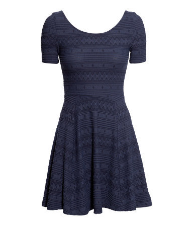 Jersey Dress - length: mini; predominant colour: navy; occasions: casual, creative work; fit: fitted at waist & bust; style: fit & flare; neckline: scoop; fibres: polyester/polyamide - stretch; sleeve length: short sleeve; sleeve style: standard; pattern type: fabric; pattern size: light/subtle; pattern: patterned/print; texture group: jersey - stretchy/drapey; season: a/w 2013