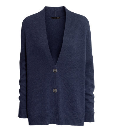 Wool Cardigan - neckline: low v-neck; pattern: plain; length: below the bottom; predominant colour: navy; occasions: casual, work; style: standard; fibres: wool - mix; fit: loose; sleeve length: long sleeve; sleeve style: standard; texture group: knits/crochet; pattern type: knitted - fine stitch; trends: broody brights; season: a/w 2013