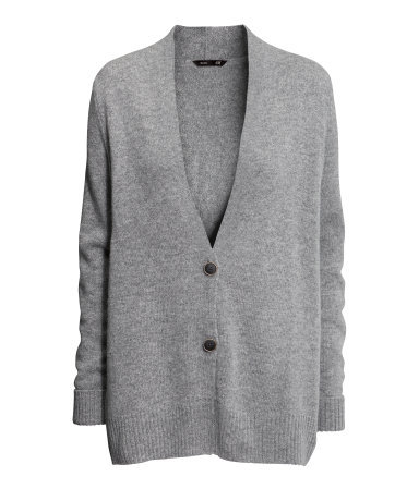 Wool Cardigan - neckline: low v-neck; pattern: plain; length: below the bottom; predominant colour: light grey; occasions: casual, work, creative work; style: standard; fibres: wool - mix; fit: loose; sleeve length: long sleeve; sleeve style: standard; texture group: knits/crochet; season: a/w 2013