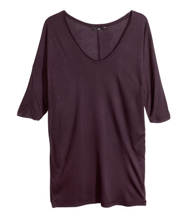 Viscose Top - neckline: v-neck; pattern: plain; length: below the bottom; predominant colour: aubergine; occasions: casual, creative work; style: top; fibres: viscose/rayon - 100%; fit: loose; sleeve length: half sleeve; sleeve style: standard; pattern type: fabric; texture group: jersey - stretchy/drapey; season: a/w 2013