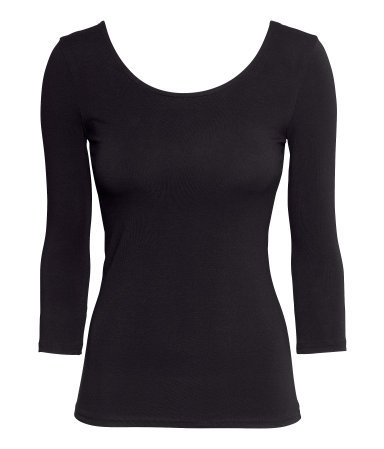 Jersey Top - pattern: plain; predominant colour: black; occasions: casual, evening, creative work; length: standard; style: top; neckline: scoop; fibres: cotton - 100%; fit: tight; sleeve length: 3/4 length; sleeve style: standard; texture group: jersey - clingy; pattern type: fabric; season: a/w 2013