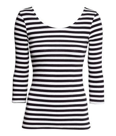Jersey Top - pattern: horizontal stripes; secondary colour: white; predominant colour: black; occasions: casual, evening, work, creative work; length: standard; style: top; neckline: scoop; fibres: cotton - 100%; fit: tight; sleeve length: 3/4 length; sleeve style: standard; texture group: jersey - clingy; pattern type: fabric; pattern size: standard; trends: gorgeous grunge, monochrome; season: a/w 2013