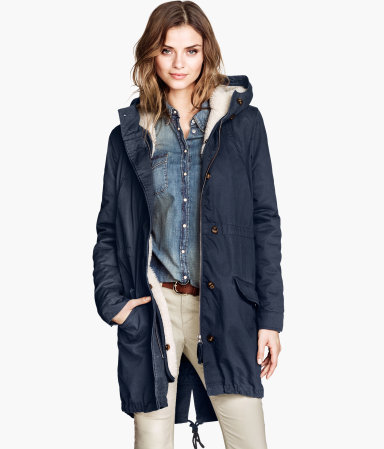 Parka - pattern: plain; fit: loose; style: parka; back detail: hood; collar: high neck; length: mid thigh; predominant colour: navy; occasions: casual; fibres: cotton - 100%; sleeve length: long sleeve; sleeve style: standard; texture group: cotton feel fabrics; collar break: high; pattern type: fabric; season: a/w 2013; hip detail: front pockets at hip