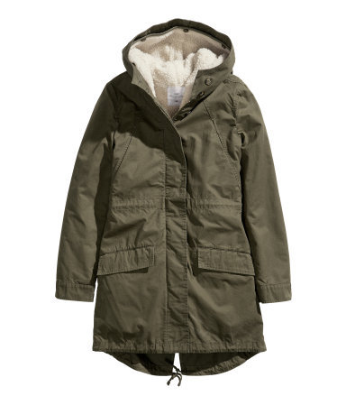 Parka - pattern: plain; fit: loose; style: parka; collar: high neck; length: mid thigh; predominant colour: khaki; occasions: casual; fibres: cotton - 100%; sleeve length: long sleeve; sleeve style: standard; texture group: cotton feel fabrics; collar break: high; pattern type: fabric; season: a/w 2013; hip detail: front pockets at hip