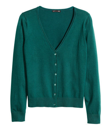 Fine Knit Cardigan - neckline: low v-neck; pattern: plain; predominant colour: teal; occasions: casual, creative work; length: standard; style: standard; fibres: cotton - mix; fit: slim fit; sleeve length: long sleeve; sleeve style: standard; texture group: knits/crochet; trends: broody brights; season: a/w 2013