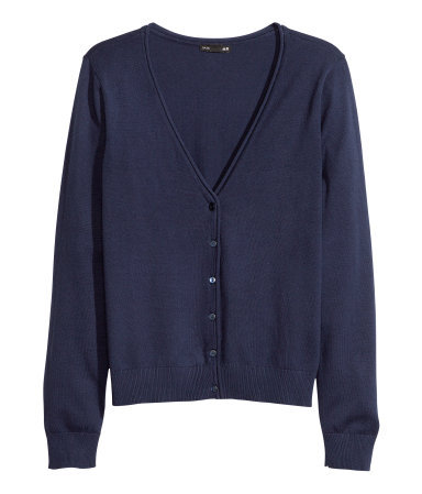 Fine Knit Cardigan - neckline: low v-neck; pattern: plain; predominant colour: navy; occasions: casual, work; length: standard; style: standard; fibres: cotton - mix; fit: standard fit; sleeve length: long sleeve; sleeve style: standard; texture group: knits/crochet; trends: broody brights; season: a/w 2013