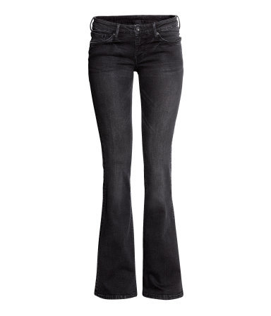 Flare Low Jeans - style: flares; length: standard; pattern: plain; waist: low rise; pocket detail: traditional 5 pocket; predominant colour: black; occasions: casual; fibres: cotton - stretch; jeans detail: whiskering, shading down centre of thigh, dark wash; texture group: denim; pattern type: fabric; season: a/w 2013