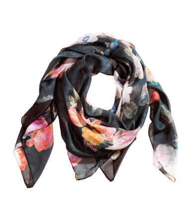 Patterned Scarf - occasions: casual, work, creative work; predominant colour: multicoloured; type of pattern: standard; style: square; size: standard; material: fabric; pattern: florals; season: a/w 2013; multicoloured: multicoloured