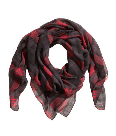 Patterned Scarf - predominant colour: true red; secondary colour: black; occasions: casual, creative work; type of pattern: standard; style: square; size: standard; material: fabric; pattern: checked/gingham; trends: gorgeous grunge; season: a/w 2013