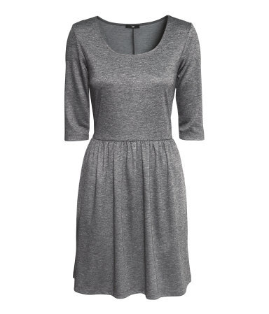 Jersey Dress - length: mid thigh; pattern: plain; predominant colour: charcoal; occasions: casual, work, creative work; fit: fitted at waist & bust; style: fit & flare; neckline: scoop; fibres: polyester/polyamide - mix; hip detail: subtle/flattering hip detail; sleeve length: half sleeve; sleeve style: standard; pattern type: fabric; texture group: jersey - stretchy/drapey; season: a/w 2013