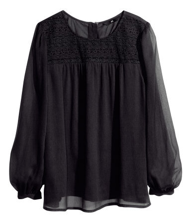 Chiffon Blouse - neckline: round neck; pattern: plain; sleeve style: balloon; style: blouse; predominant colour: black; occasions: casual, evening, creative work; length: standard; fibres: polyester/polyamide - 100%; fit: loose; sleeve length: long sleeve; texture group: sheer fabrics/chiffon/organza etc.; pattern type: fabric; trends: gothic romance; season: a/w 2013