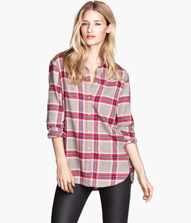 Flannel Shirt - neckline: shirt collar/peter pan/zip with opening; pattern: checked/gingham; length: below the bottom; style: shirt; secondary colour: true red; predominant colour: stone; occasions: casual, creative work; fibres: cotton - 100%; fit: loose; sleeve length: long sleeve; sleeve style: standard; texture group: cotton feel fabrics; pattern type: fabric; pattern size: standard; trends: gorgeous grunge; season: a/w 2013