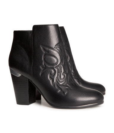 Ankle Boots - predominant colour: black; occasions: casual, creative work; material: faux leather; heel height: mid; embellishment: embroidered; heel: block; toe: round toe; boot length: ankle boot; style: standard; finish: plain; pattern: plain; season: a/w 2013