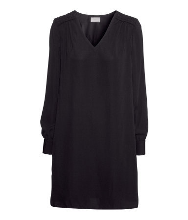 Short Dress - style: smock; length: mid thigh; neckline: v-neck; fit: loose; pattern: plain; predominant colour: black; occasions: casual, evening, creative work; fibres: polyester/polyamide - 100%; sleeve length: long sleeve; sleeve style: standard; pattern type: fabric; texture group: jersey - stretchy/drapey; season: a/w 2013
