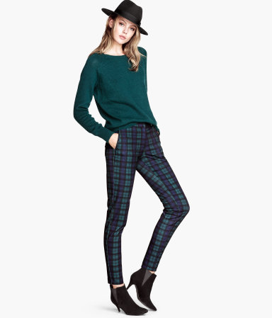 Slacks - length: standard; pattern: checked/gingham; pocket detail: small back pockets, pockets at the sides; style: peg leg; waist: mid/regular rise; occasions: casual, creative work; fibres: polyester/polyamide - stretch; predominant colour: multicoloured; fit: tapered; pattern type: fabric; texture group: woven light midweight; trends: gorgeous grunge; season: a/w 2013; pattern size: big & busy (bottom); multicoloured: multicoloured